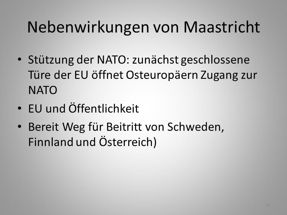 30 Nebenwirkungen von Maastricht Stützung der NATO: zunächst geschlossene Türe der EU öffnet Osteuropäern Zugang zur NATO EU und Öffentlichkeit Bereit