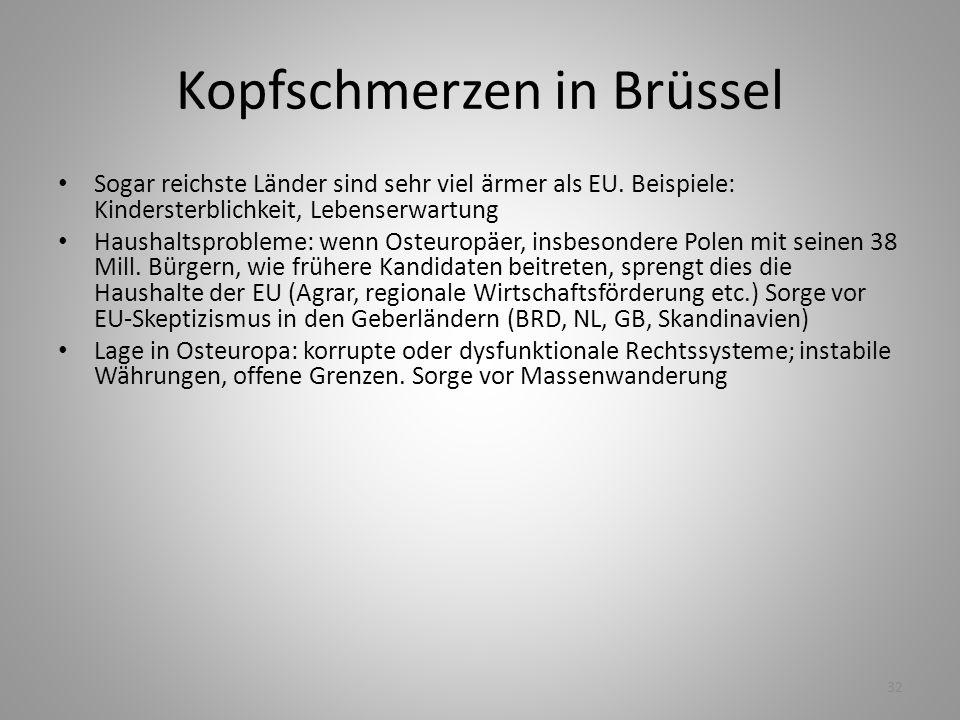 32 Kopfschmerzen in Brüssel Sogar reichste Länder sind sehr viel ärmer als EU. Beispiele: Kindersterblichkeit, Lebenserwartung Haushaltsprobleme: wenn