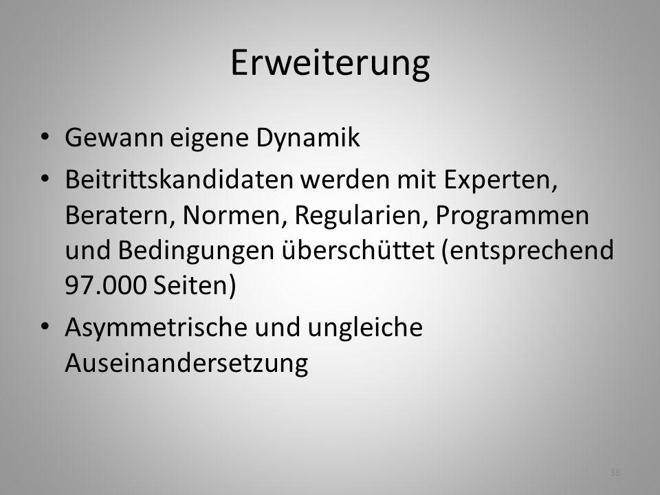 38 Erweiterung Gewann eigene Dynamik Beitrittskandidaten werden mit Experten, Beratern, Normen, Regularien, Programmen und Bedingungen überschüttet (e