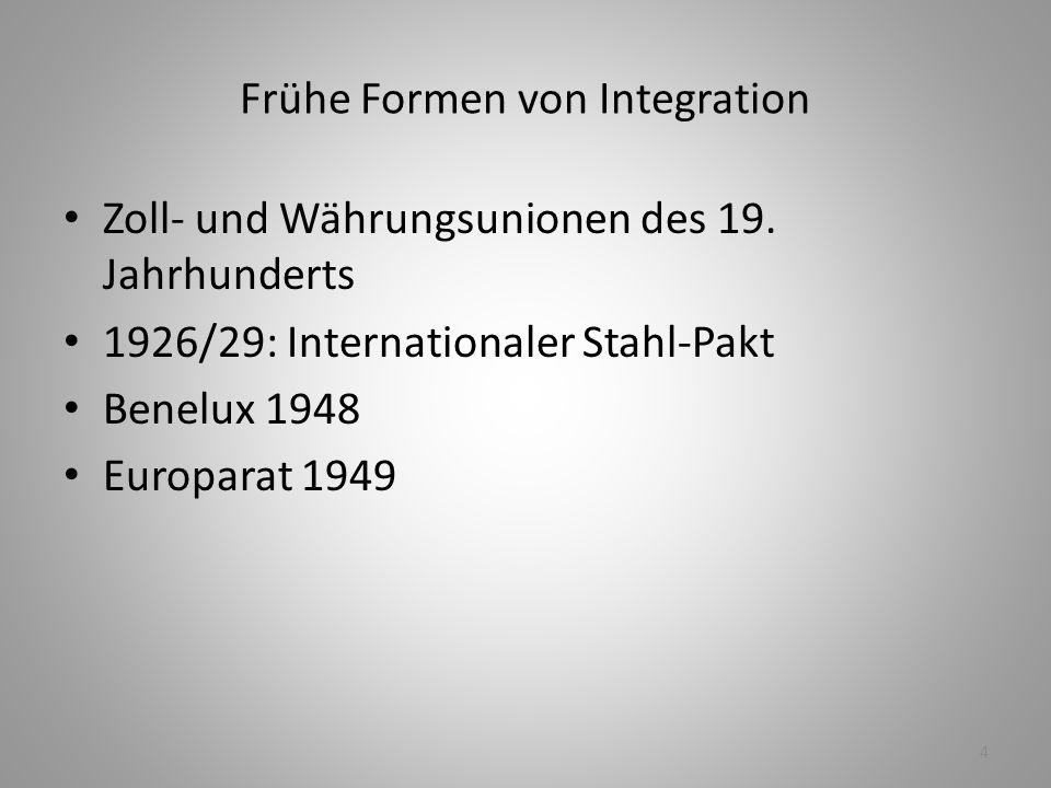 4 Frühe Formen von Integration Zoll- und Währungsunionen des 19. Jahrhunderts 1926/29: Internationaler Stahl-Pakt Benelux 1948 Europarat 1949