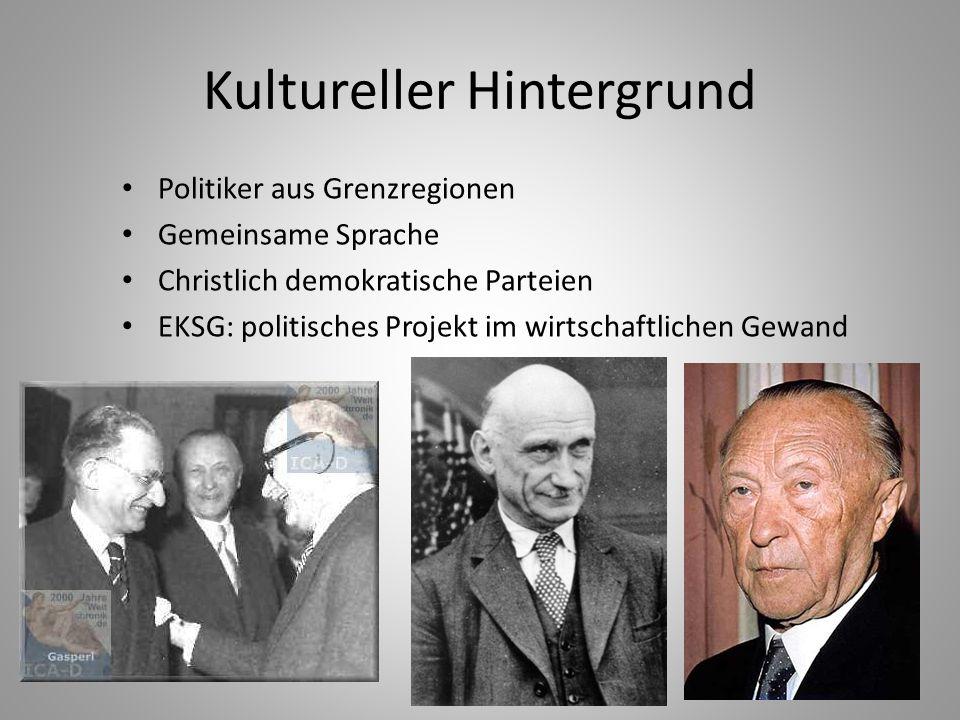 6 Kultureller Hintergrund Politiker aus Grenzregionen Gemeinsame Sprache Christlich demokratische Parteien EKSG: politisches Projekt im wirtschaftlich
