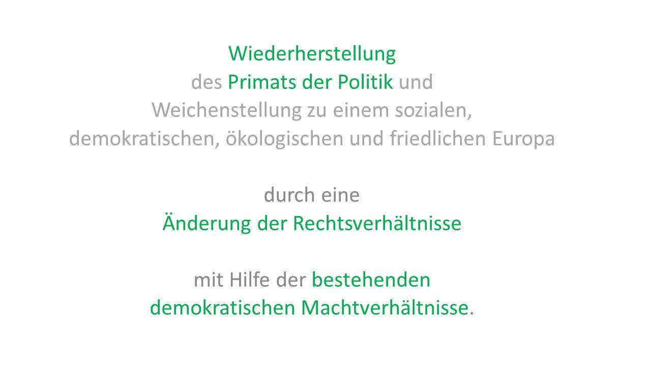 Wiederherstellung des Primats der Politik und Weichenstellung zu einem sozialen, demokratischen, ökologischen und friedlichen Europa durch eine Änderu