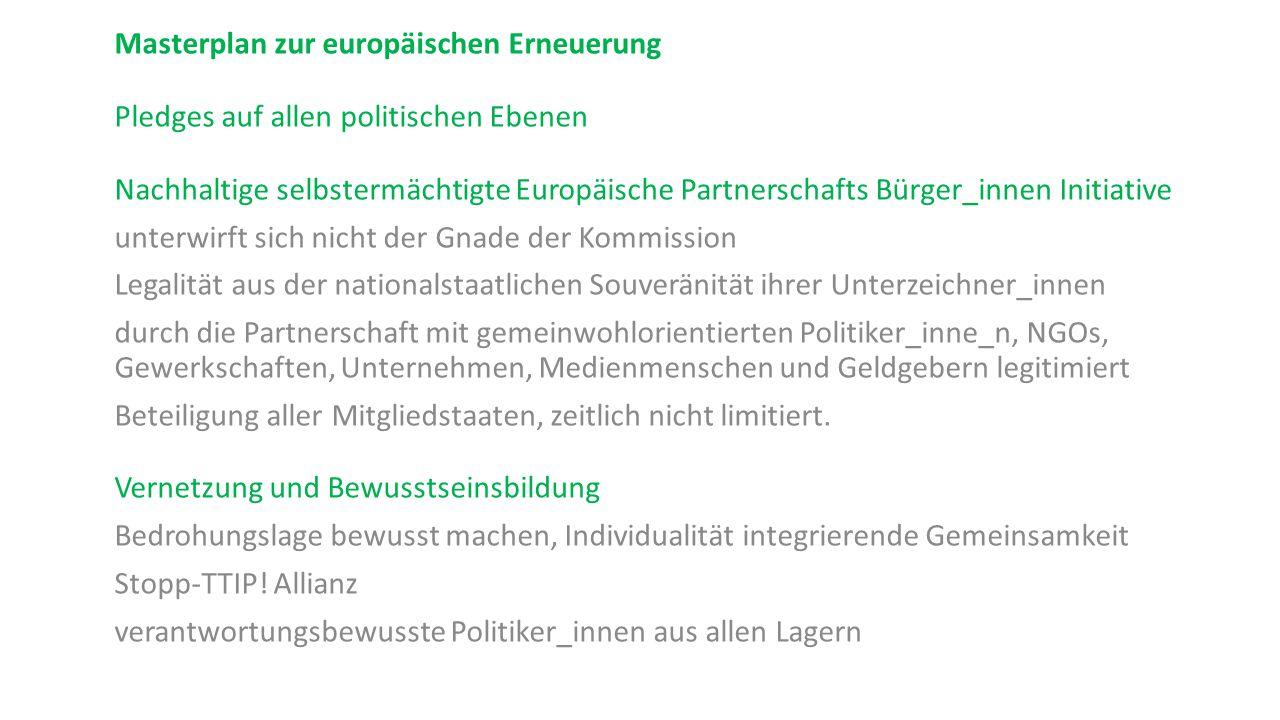 Masterplan zur europäischen Erneuerung Pledges auf allen politischen Ebenen Nachhaltige selbstermächtigte Europäische Partnerschafts Bürger_innen Init
