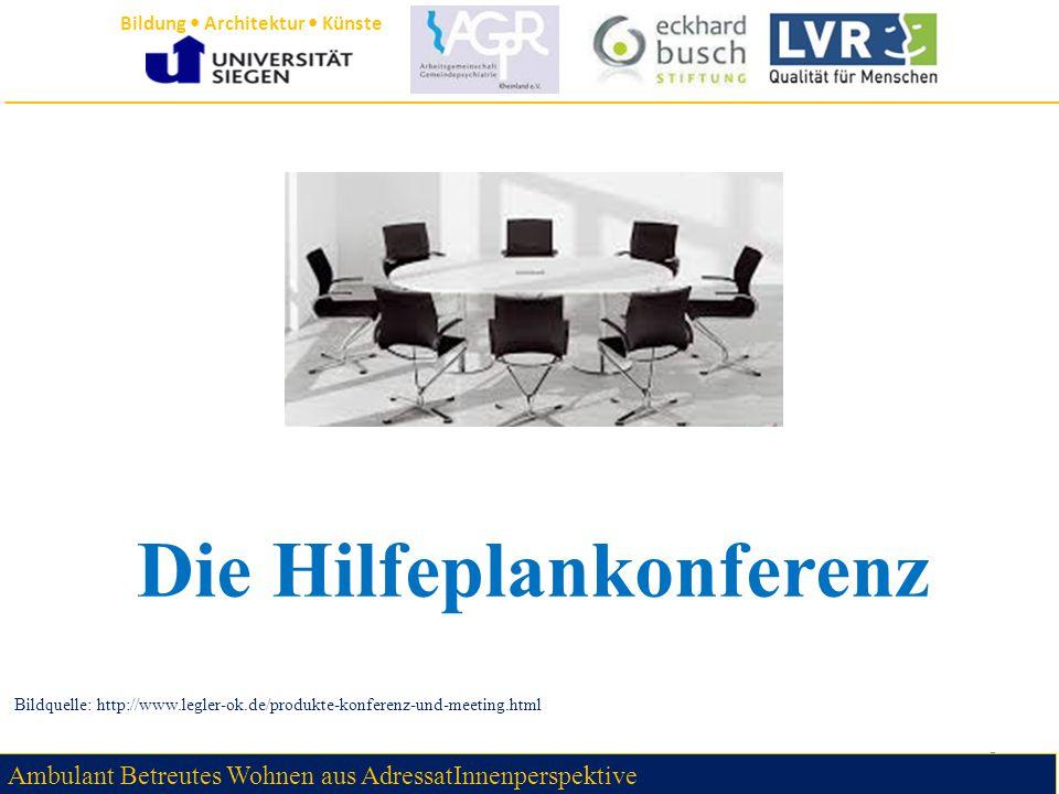Bildung Architektur Künste Die Hilfeplankonferenz 6 Bildquelle: http://www.legler-ok.de/produkte-konferenz-und-meeting.html Ambulant Betreutes Wohnen