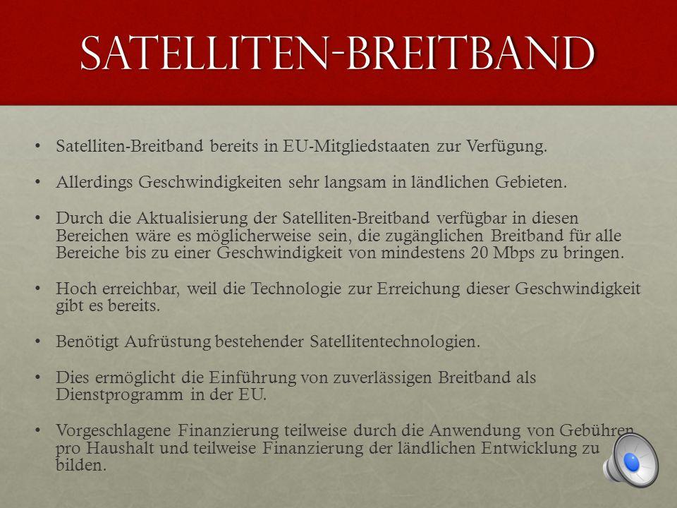 SATELLITEN-BREITBAND Satelliten-Breitband bereits in EU-Mitgliedstaaten zur Verfügung.