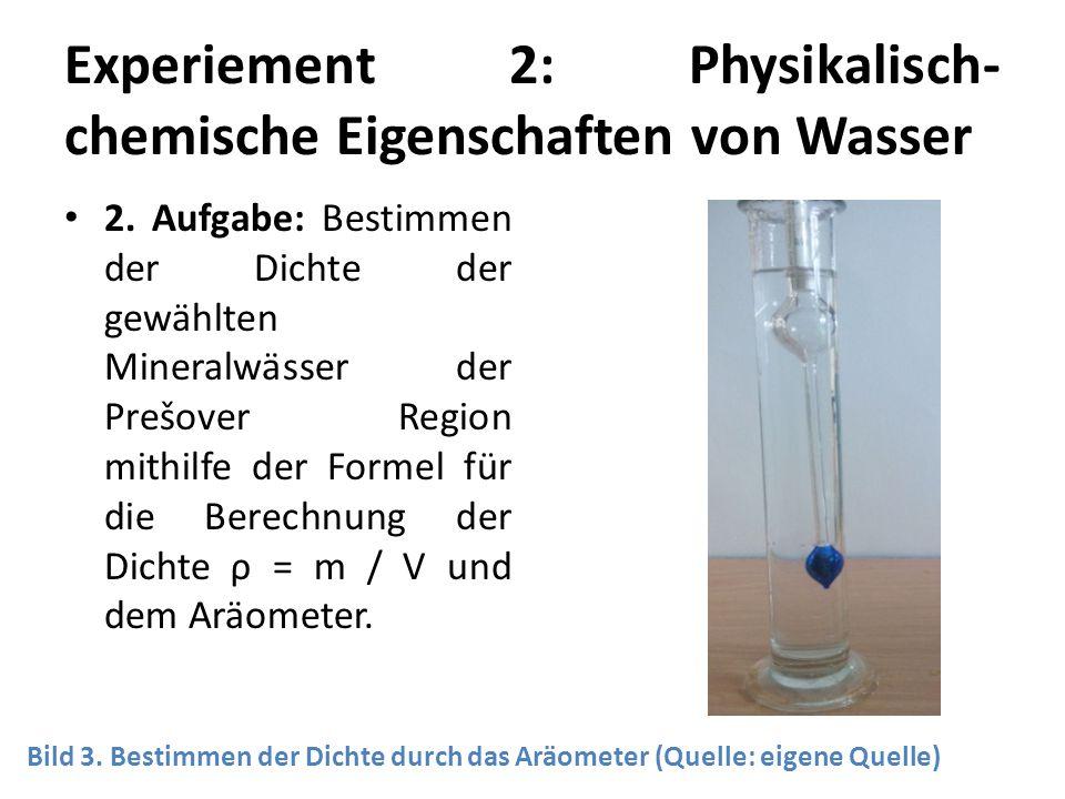 Experiement 2: Physikalisch- chemische Eigenschaften von Wasser 2. Aufgabe: Bestimmen der Dichte der gewählten Mineralwässer der Prešover Region mithi