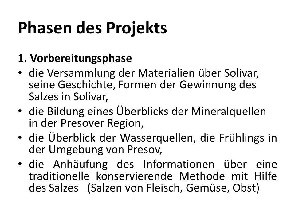 Phasen des Projekts 1.