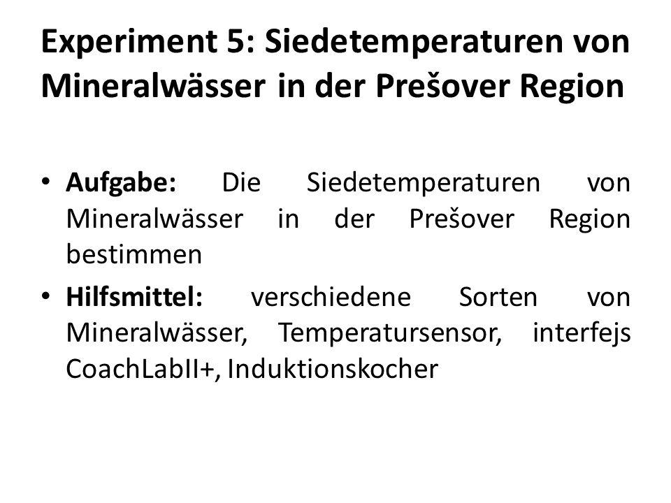 Experiment 5: Siedetemperaturen von Mineralwässer in der Prešover Region Aufgabe: Die Siedetemperaturen von Mineralwässer in der Prešover Region bestimmen Hilfsmittel: verschiedene Sorten von Mineralwässer, Temperatursensor, interfejs CoachLabII+, Induktionskocher