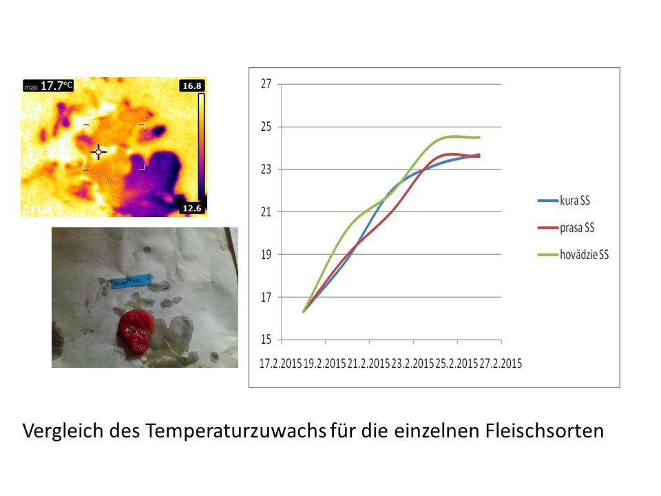 Vergleich des Temperaturzuwachs für die einzelnen Fleischsorten
