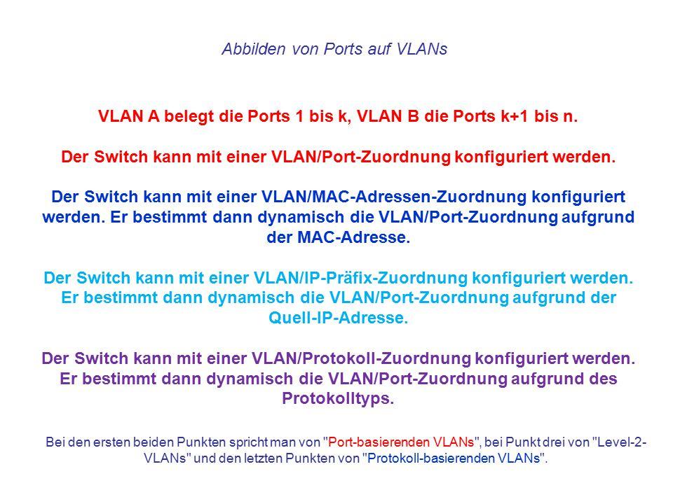Abbilden von Ports auf VLANs VLAN A belegt die Ports 1 bis k, VLAN B die Ports k+1 bis n. Der Switch kann mit einer VLAN/Port-Zuordnung konfiguriert w