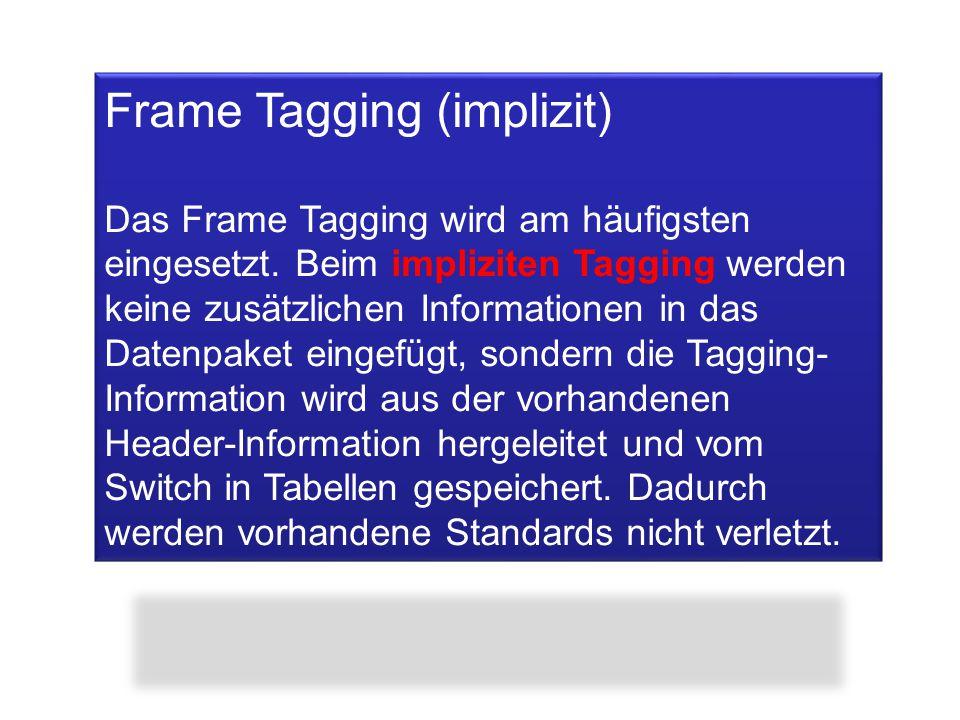 Frame Tagging (implizit) Das Frame Tagging wird am häufigsten eingesetzt. Beim impliziten Tagging werden keine zusätzlichen Informationen in das Daten