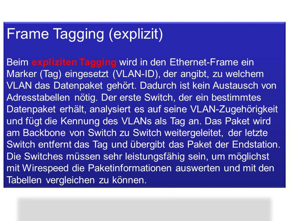 Frame Tagging (explizit) Beim expliziten Tagging wird in den Ethernet-Frame ein Marker (Tag) eingesetzt (VLAN-ID), der angibt, zu welchem VLAN das Dat