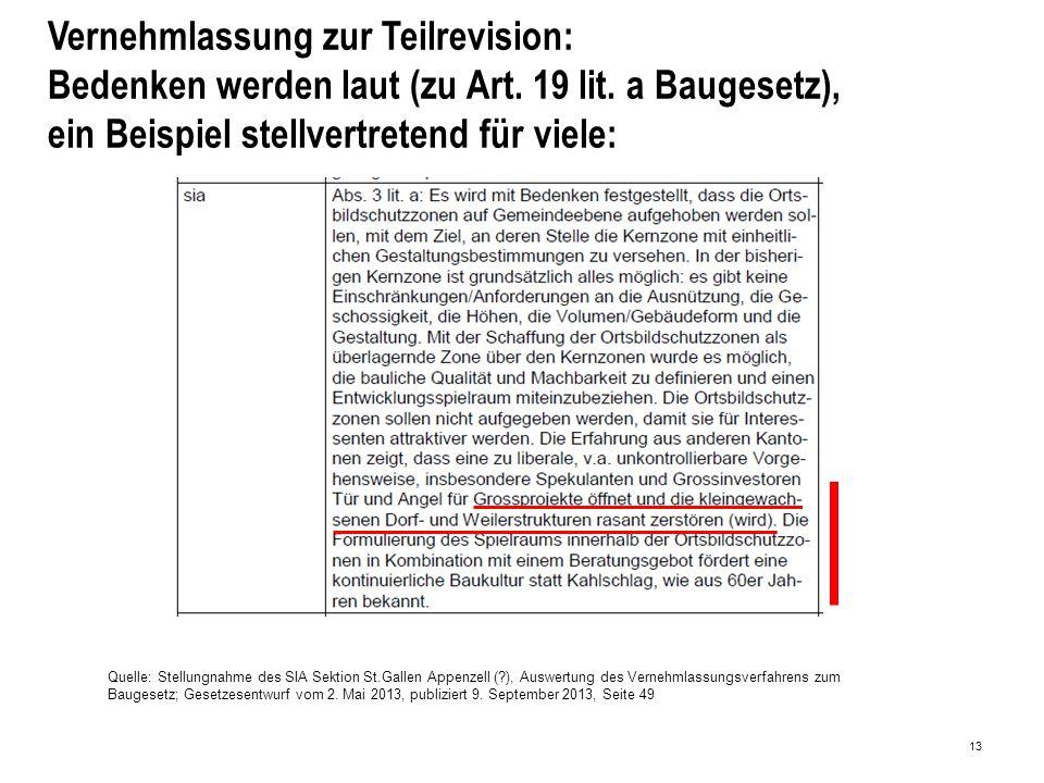 13 Vernehmlassung zur Teilrevision: Bedenken werden laut (zu Art.