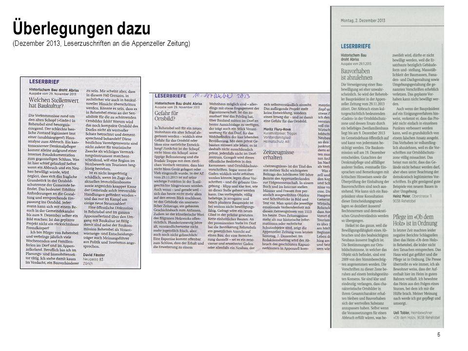 5 Überlegungen dazu (Dezember 2013, Leserzuschriften an die Appenzeller Zeitung)