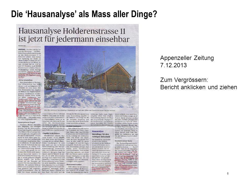 6 Die 'Hausanalyse' als Mass aller Dinge.