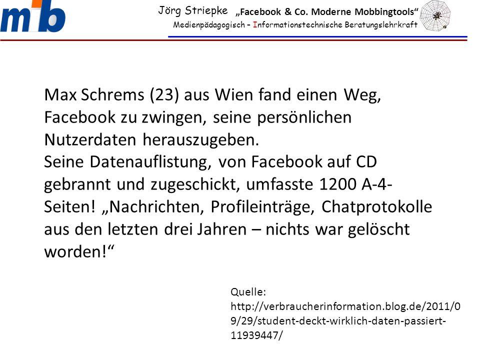 Medienpädagogisch – Informationstechnische Beratungslehrkraft Max Schrems (23) aus Wien fand einen Weg, Facebook zu zwingen, seine persönlichen Nutzerdaten herauszugeben.