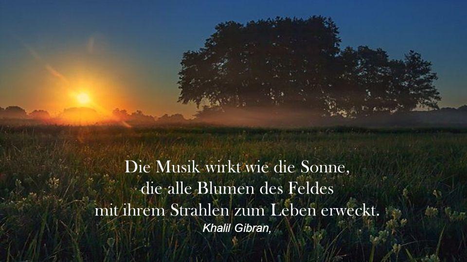 Die Musik wirkt wie die Sonne, die alle Blumen des Feldes mit ihrem Strahlen zum Leben erweckt.