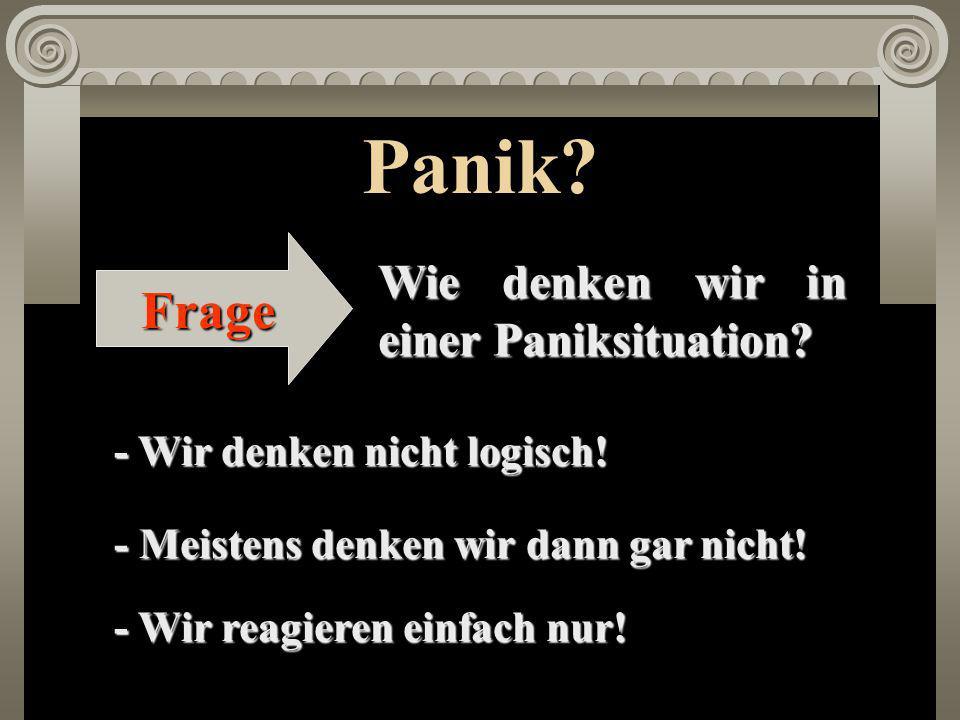Panik.Frage Wie denken wir in einer Paniksituation.