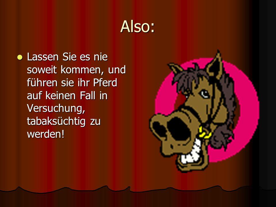 Also: Lassen Sie es nie soweit kommen, und führen sie ihr Pferd auf keinen Fall in Versuchung, tabaksüchtig zu werden! Lassen Sie es nie soweit kommen