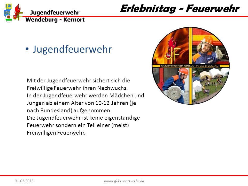 www.jf-kernortwehr.de 31.03.2015 Erlebnistag - Feuerwehr Jugendfeuerwehr Mit der Jugendfeuerwehr sichert sich die Freiwillige Feuerwehr ihren Nachwuch