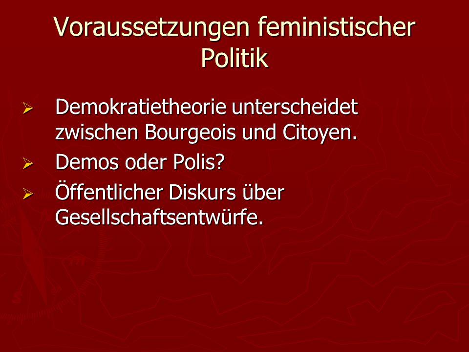 Voraussetzungen feministischer Politik  Demokratietheorie unterscheidet zwischen Bourgeois und Citoyen.  Demos oder Polis?  Öffentlicher Diskurs üb