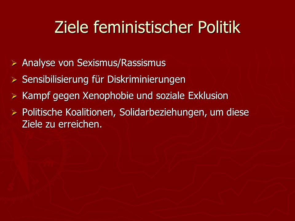 Ziele feministischer Politik  Analyse von Sexismus/Rassismus  Sensibilisierung für Diskriminierungen  Kampf gegen Xenophobie und soziale Exklusion  Politische Koalitionen, Solidarbeziehungen, um diese Ziele zu erreichen.