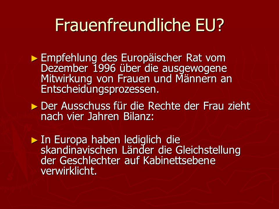 Frauenfreundliche EU? ► Empfehlung des Europäischer Rat vom Dezember 1996 über die ausgewogene Mitwirkung von Frauen und Männern an Entscheidungsproze