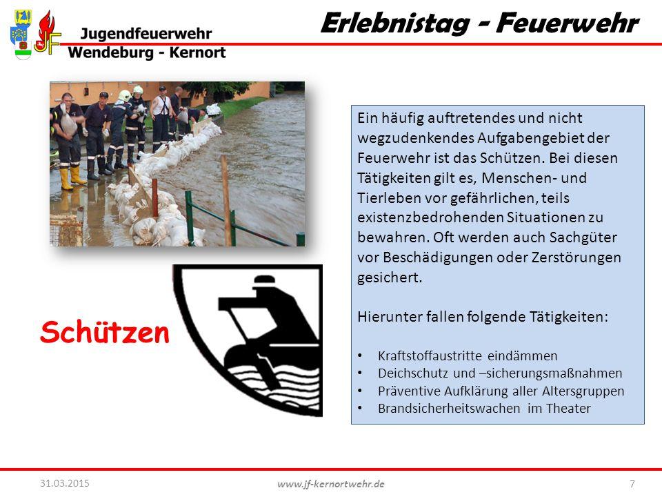 www.jf-kernortwehr.de 7 31.03.2015 Erlebnistag - Feuerwehr Schützen Ein häufig auftretendes und nicht wegzudenkendes Aufgabengebiet der Feuerwehr ist das Schützen.