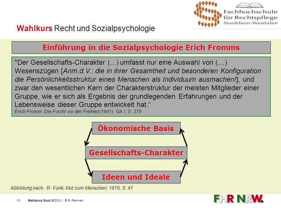 Wahlkurs Stud. II/2012 / © R. Pannen11 Wahlkurs Recht und Sozialpsychologie Einführung in die Sozialpsychologie Erich Fromms