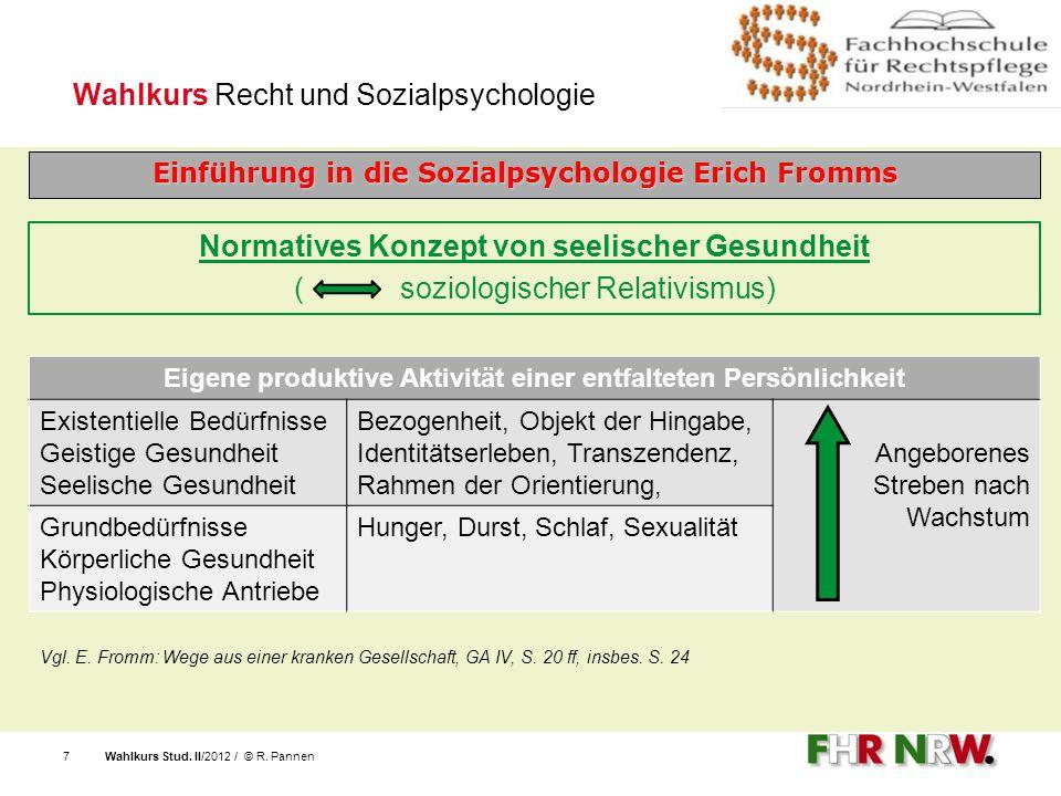 Wahlkurs Stud. II/2012 / © R. Pannen7 Wahlkurs Recht und Sozialpsychologie Einführung in die Sozialpsychologie Erich Fromms Eigene produktive Aktivitä