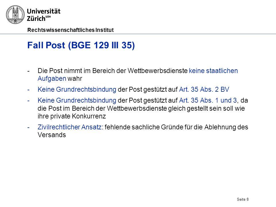 Rechtswissenschaftliches Institut Fall Post (BGE 129 III 35) -Die Post nimmt im Bereich der Wettbewerbsdienste keine staatlichen Aufgaben wahr -Keine