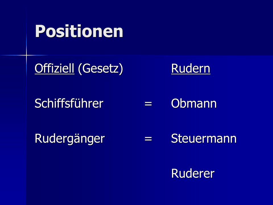 Positionen Offiziell (Gesetz)Rudern Schiffsführer=Obmann Rudergänger=Steuermann Ruderer