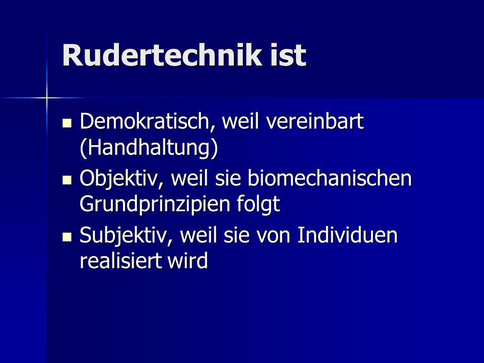 Rudertechnik ist Demokratisch, weil vereinbart (Handhaltung) Demokratisch, weil vereinbart (Handhaltung) Objektiv, weil sie biomechanischen Grundprinz