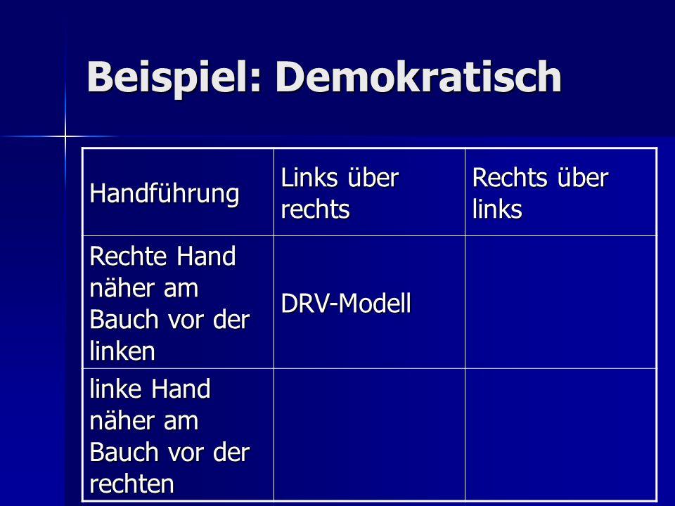 Beispiel: Demokratisch Handführung Links über rechts Rechts über links Rechte Hand näher am Bauch vor der linken DRV-Modell linke Hand näher am Bauch