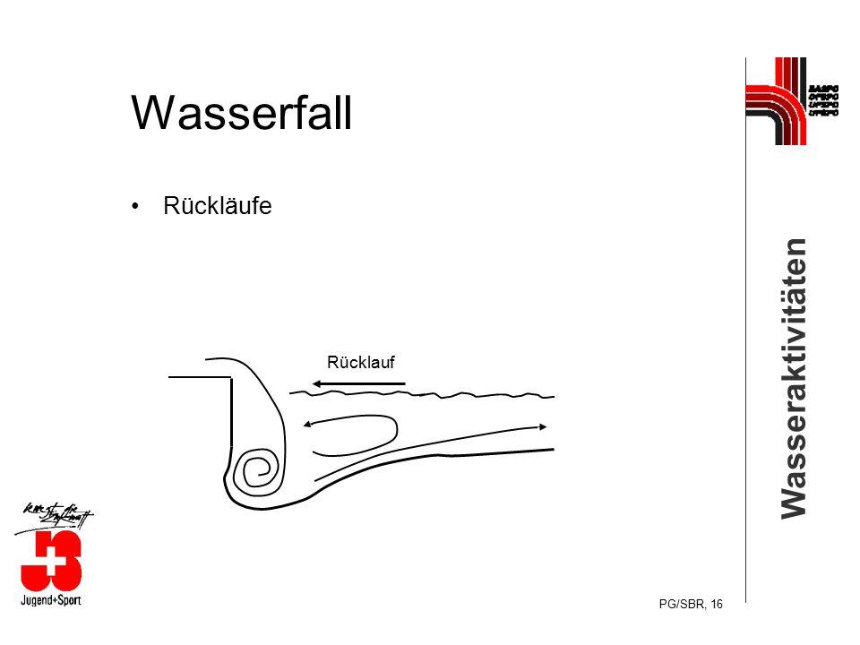 Wasseraktivitäten PG/SBR, 16 Wasserfall Rückläufe Rücklauf