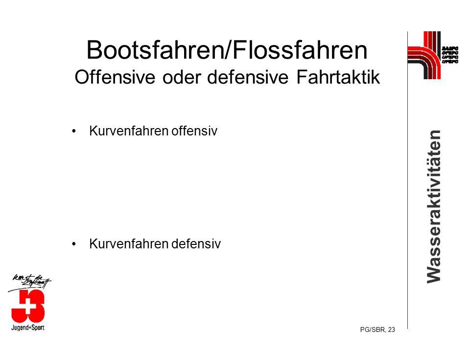 Wasseraktivitäten PG/SBR, 23 Bootsfahren/Flossfahren Offensive oder defensive Fahrtaktik Kurvenfahren offensiv Kurvenfahren defensiv