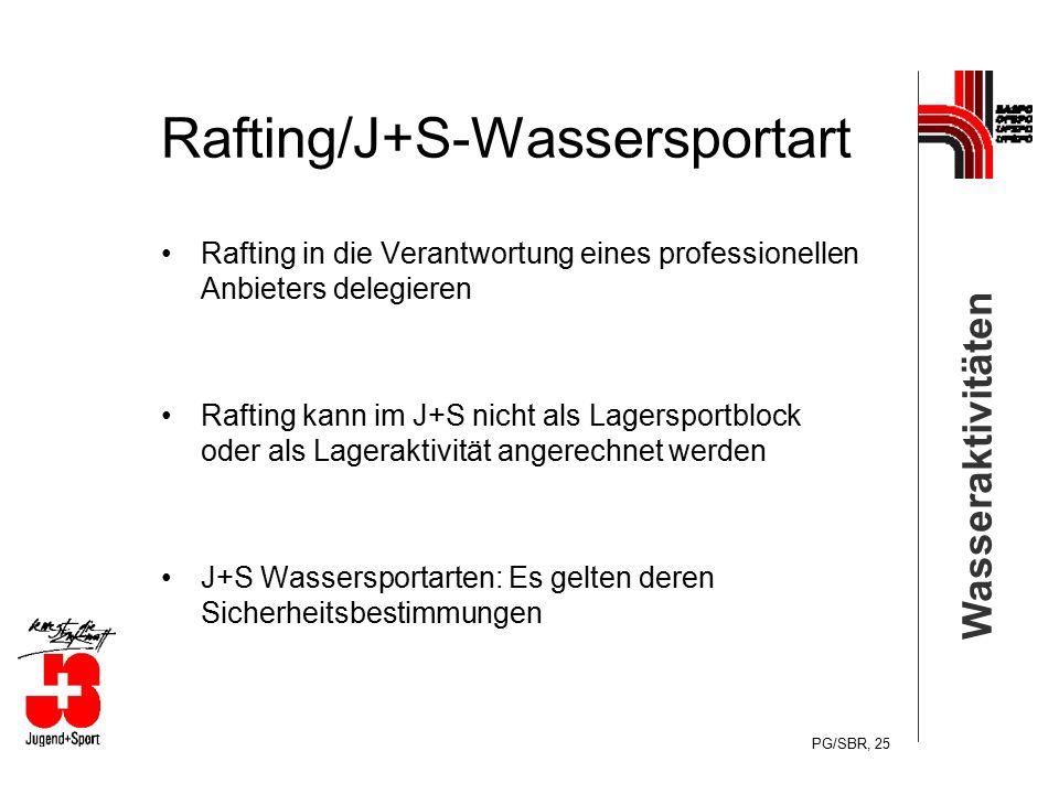 Wasseraktivitäten PG/SBR, 25 Rafting/J+S-Wassersportart Rafting in die Verantwortung eines professionellen Anbieters delegieren Rafting kann im J+S ni