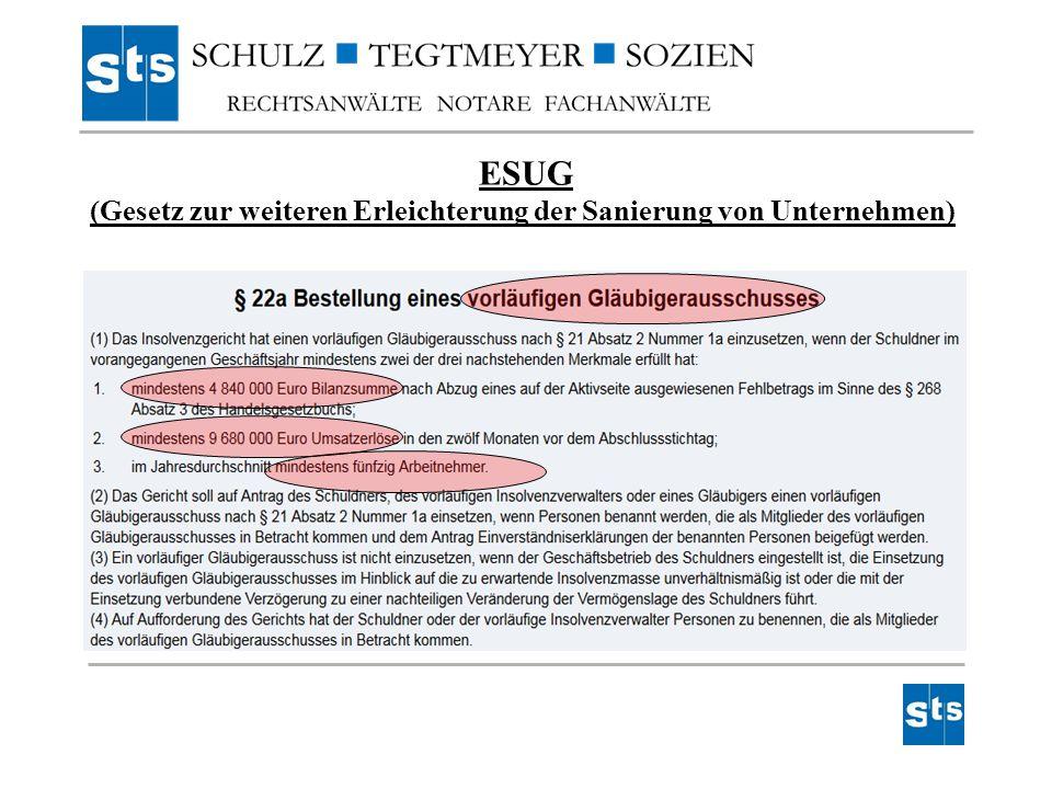 ESUG (Gesetz zur weiteren Erleichterung der Sanierung von Unternehmen)