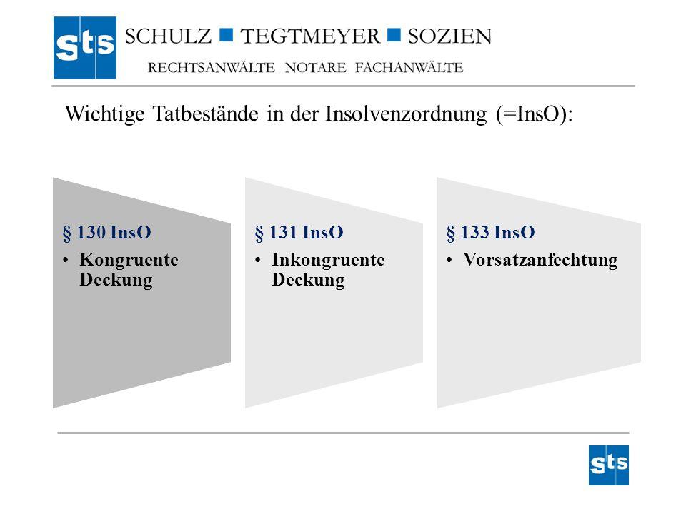 § 130 InsO Kongruente Deckung § 131 InsO Inkongruente Deckung § 133 InsO Vorsatzanfechtung Wichtige Tatbestände in der Insolvenzordnung (=InsO):