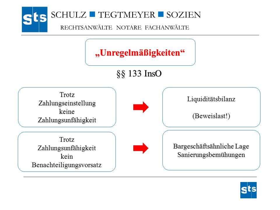 """""""Unregelmäßigkeiten"""" §§ 133 InsO TrotzZahlungseinstellungkeineZahlungsunfähigkeit TrotzZahlungsunfähigkeitkeinBenachteiligungsvorsatz Liquiditätsbilan"""