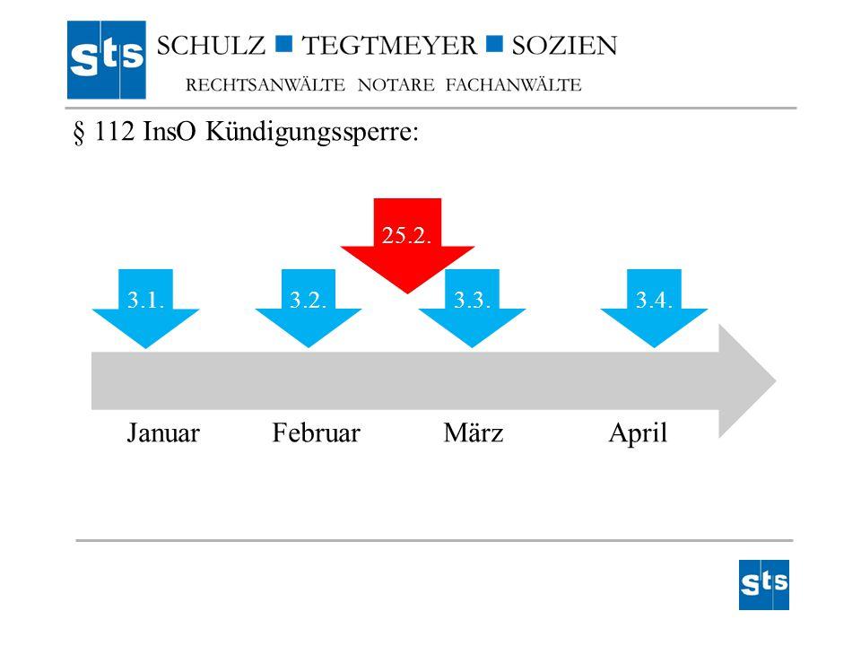 3.1. 3.2.3.3.3.4. 25.2. JanuarFebruarMärzApril § 112 InsO Kündigungssperre: