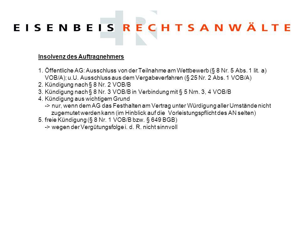 Insolvenz des Auftragnehmers 1. Öffentliche AG: Ausschluss von der Teilnahme am Wettbewerb (§ 8 Nr. 5 Abs. 1 lit. a) VOB/A); u.U. Ausschluss aus dem V