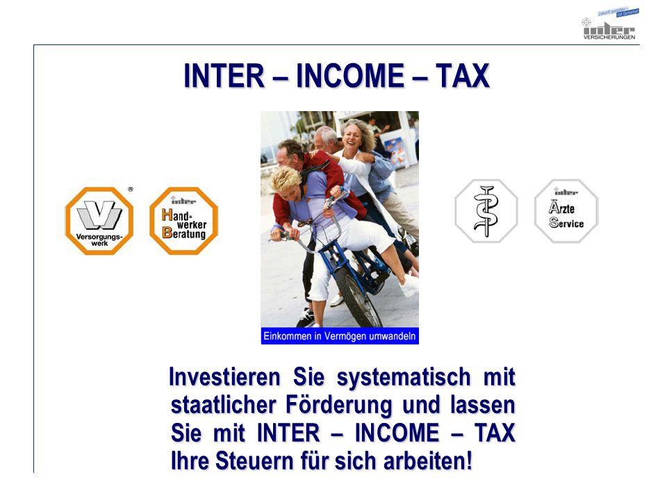 INTER – INCOME – TAX Investieren Sie systematisch mit staatlicher Förderung und lassen Sie mit INTER – INCOME – TAX Ihre Steuern für sich arbeiten.