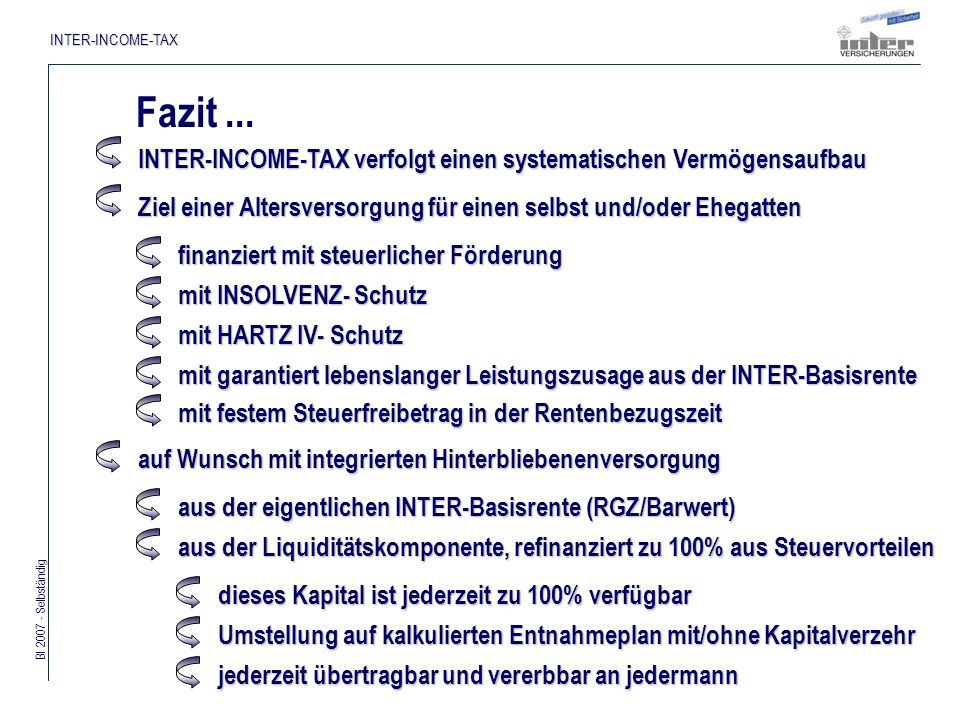 Bl 2007 - Selbständig INTER-INCOME-TAX Fazit...