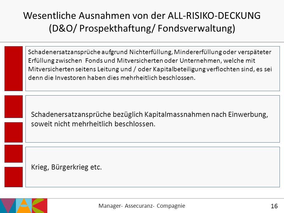 Manager- Assecuranz- Compagnie 16 Wesentliche Ausnahmen von der ALL-RISIKO-DECKUNG (D&O/ Prospekthaftung/ Fondsverwaltung) Schadenersatzansprüche bezü
