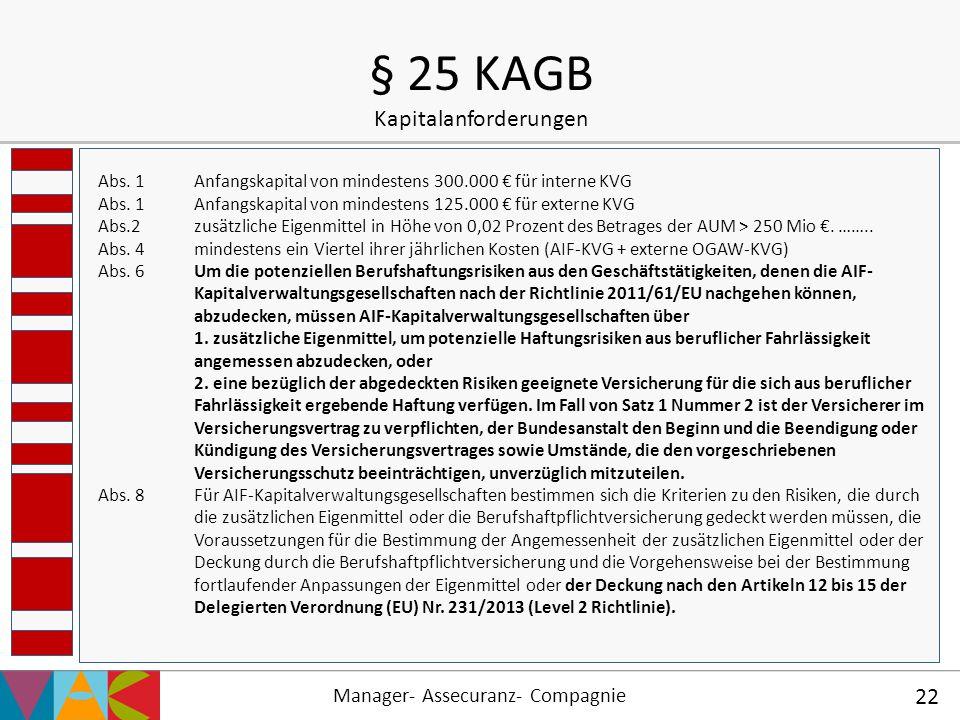 Manager- Assecuranz- Compagnie 22 § 25 KAGB Kapitalanforderungen Abs. 1Anfangskapital von mindestens 300.000 € für interne KVG Abs. 1Anfangskapital vo