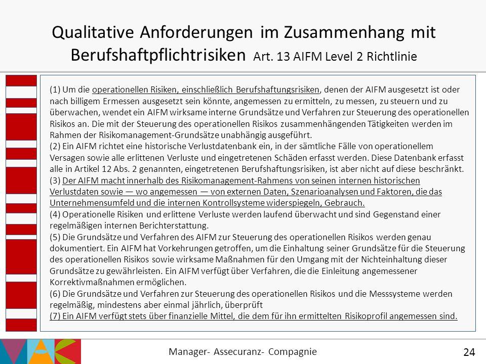 Manager- Assecuranz- Compagnie 24 Qualitative Anforderungen im Zusammenhang mit Berufshaftpflichtrisiken Art. 13 AIFM Level 2 Richtlinie (1) Um die op