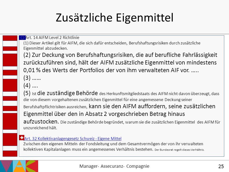Manager- Assecuranz- Compagnie 25 Zusätzliche Eigenmittel Art. 14 AIFM Level 2 Richtlinie (1) Dieser Artikel gilt für AIFM, die sich dafür entscheiden