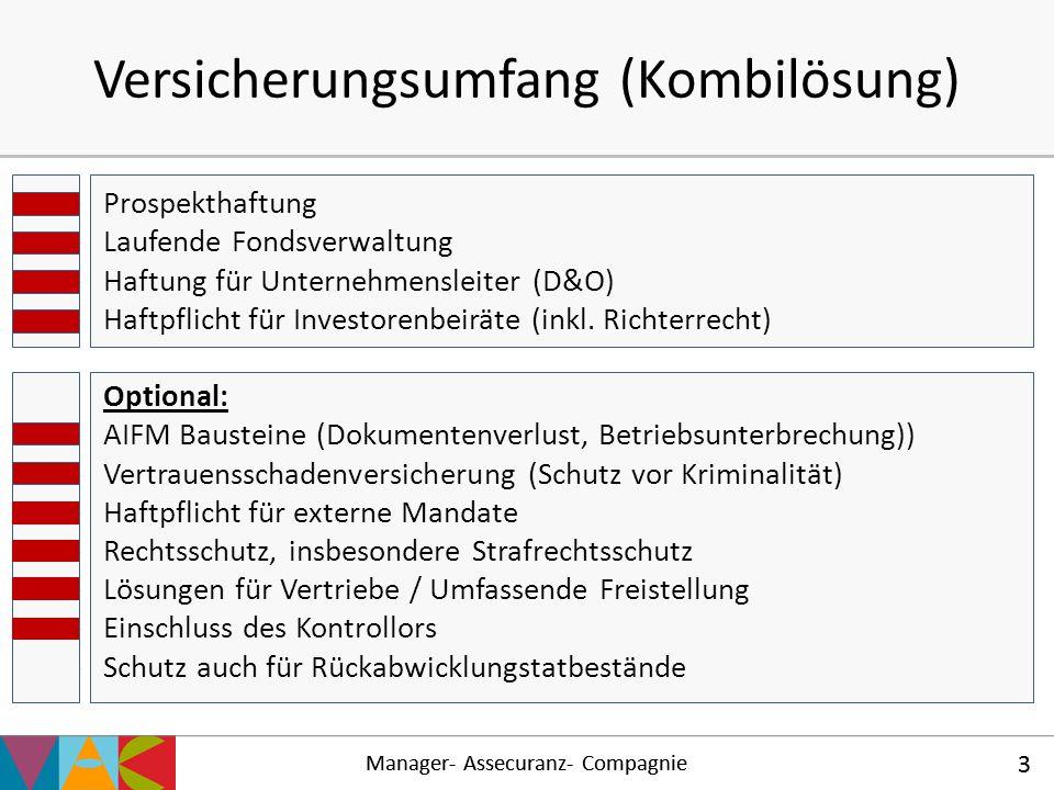 Manager- Assecuranz- Compagnie 3 Versicherungsumfang (Kombilösung)  Prospekthaftung  Laufende Fondsverwaltung  Haftung für Unternehmensleiter (D&O)
