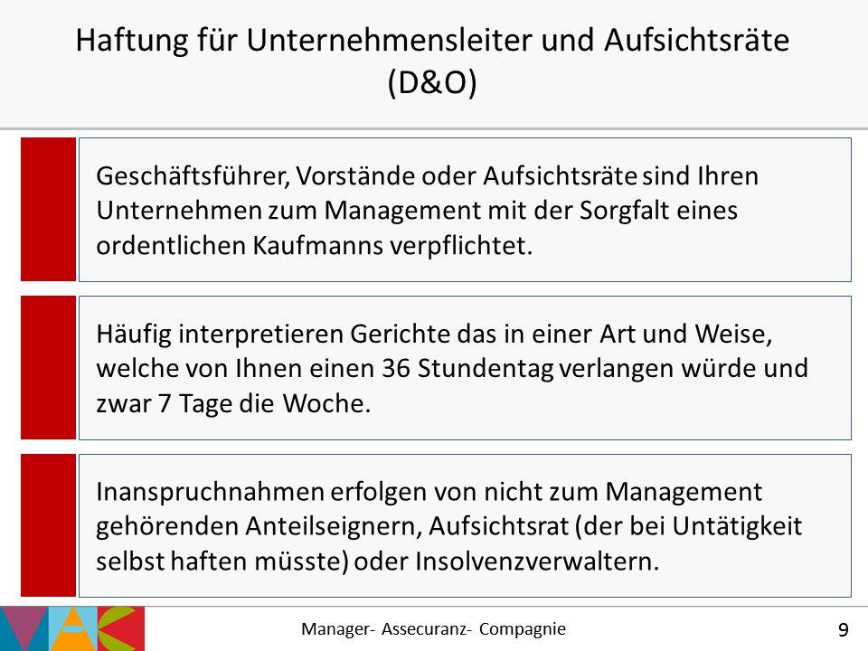 Manager- Assecuranz- Compagnie 9 Haftung für Unternehmensleiter und Aufsichtsräte (D&O) Manager- Assecuranz- Compagnie 9 Geschäftsführer, Vorstände od